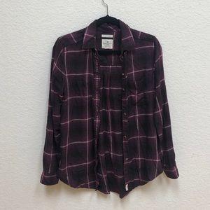 American Eagle Purple Plaid Flannel